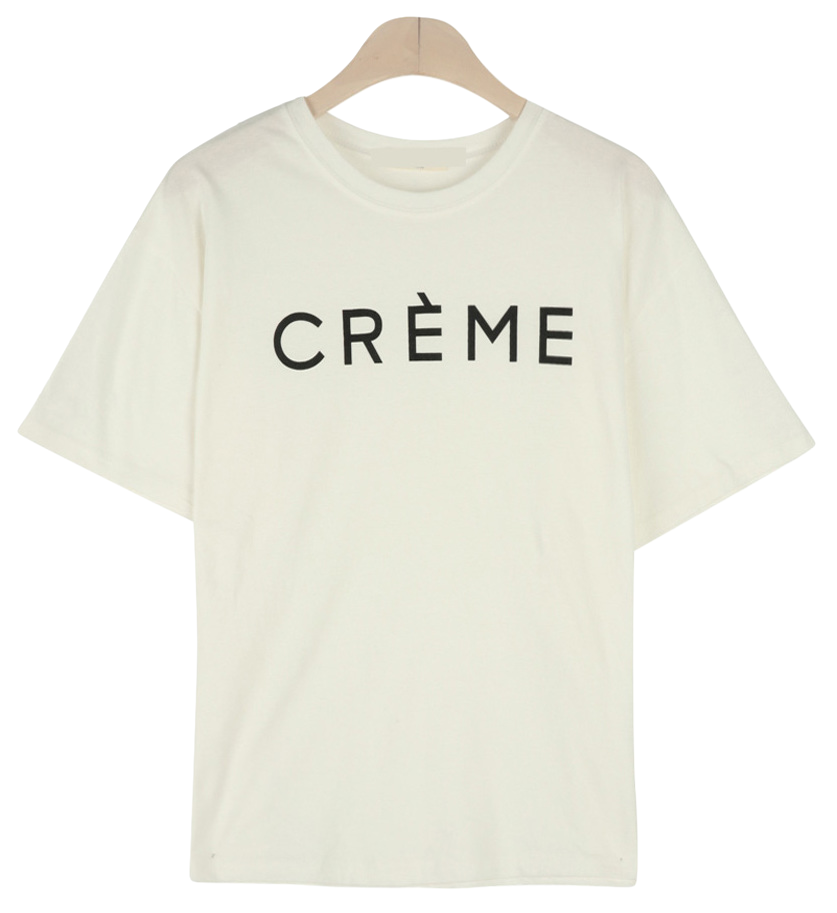 크림 라운드 반팔 티셔츠 (t6218)
