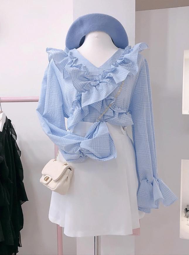 Order rush ♥ Ribbon check ruffle blouse