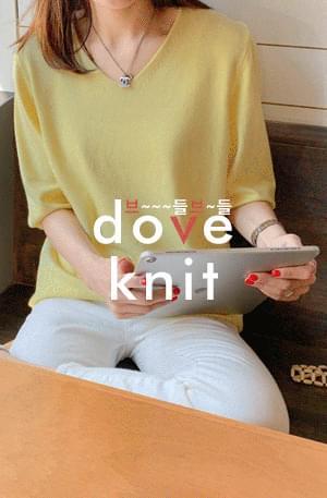 Dove knit-V neck short sleeve knit