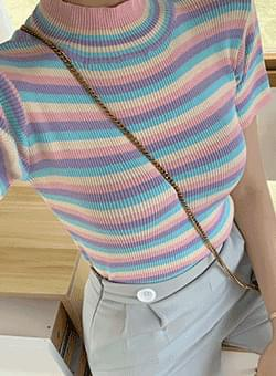 Sugar Candy Stripe Neck Polar Knit