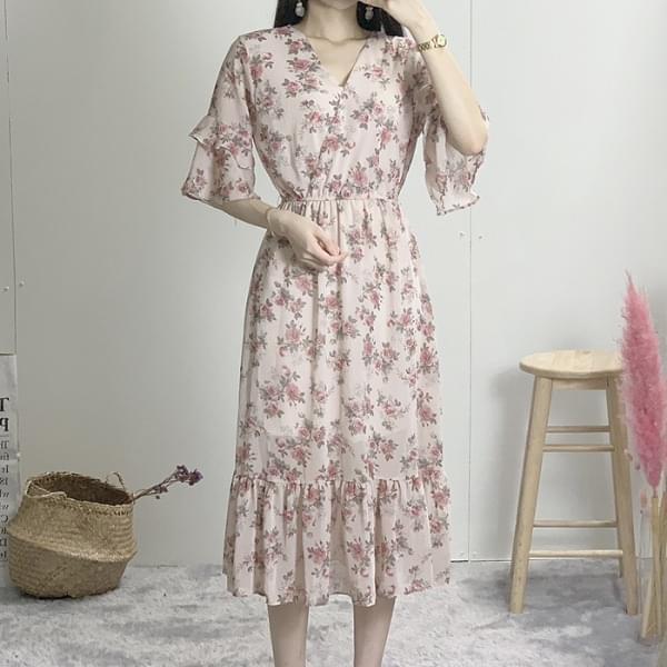 Romance Flower Chiffon Long Dress