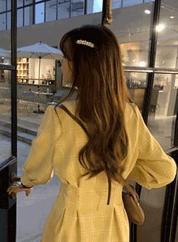Grace Check V-neck Long Dress