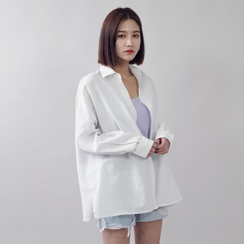 Loose-fitting twill linen shirt