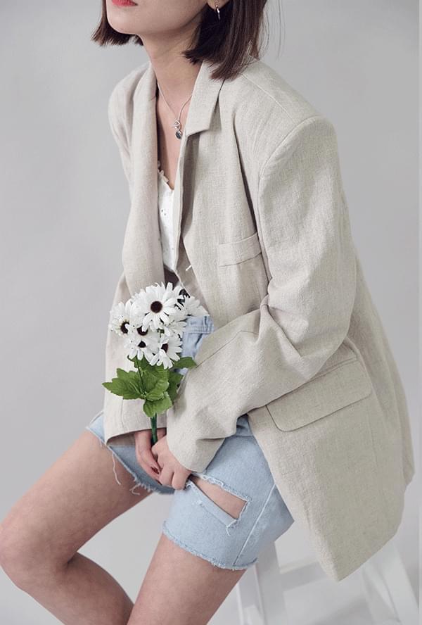 Tailored single linen jacket