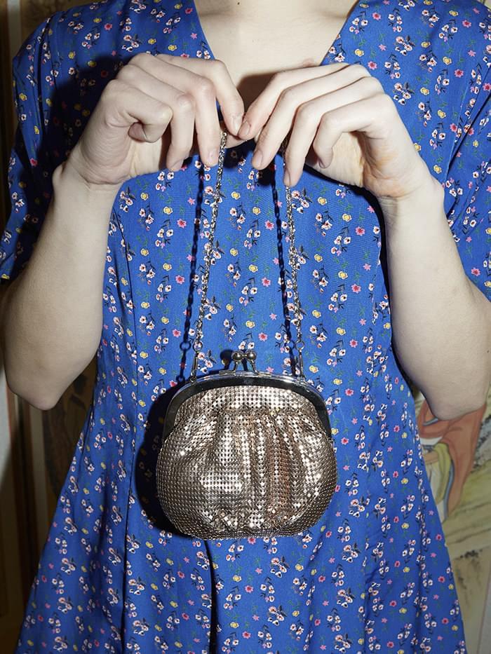 rose gold mini glaze clutch bag