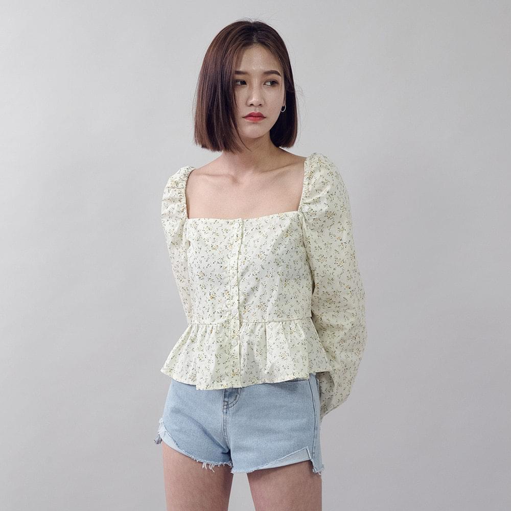 Square neck flower blouse