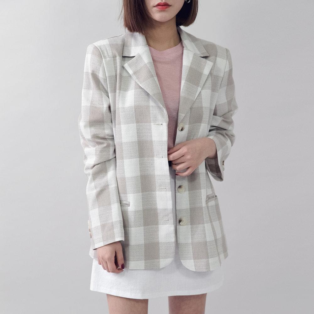 Tone Andon square check jacket