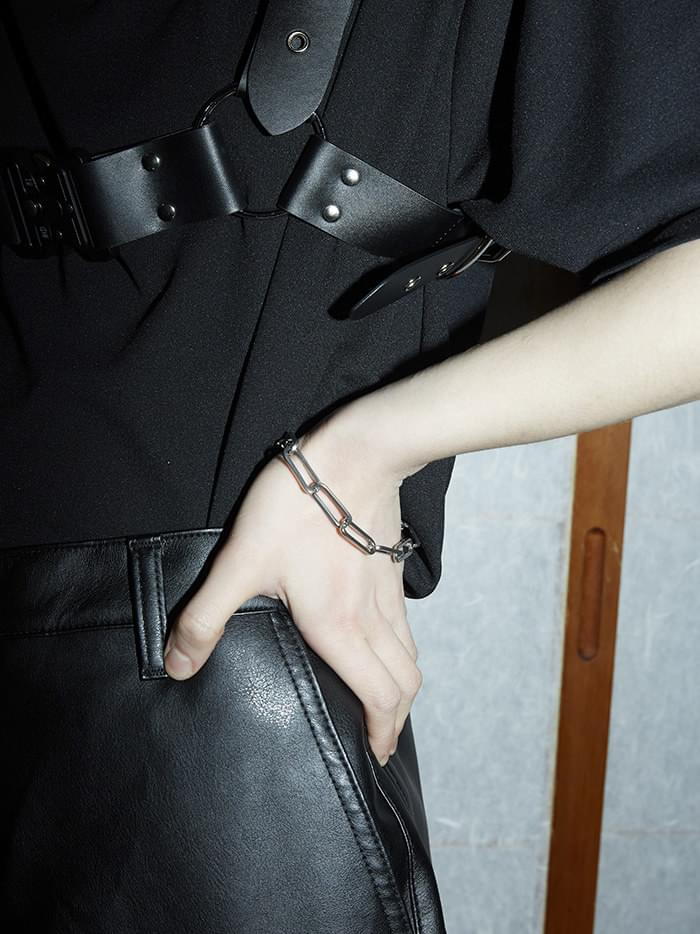 silver chain bracelet - men