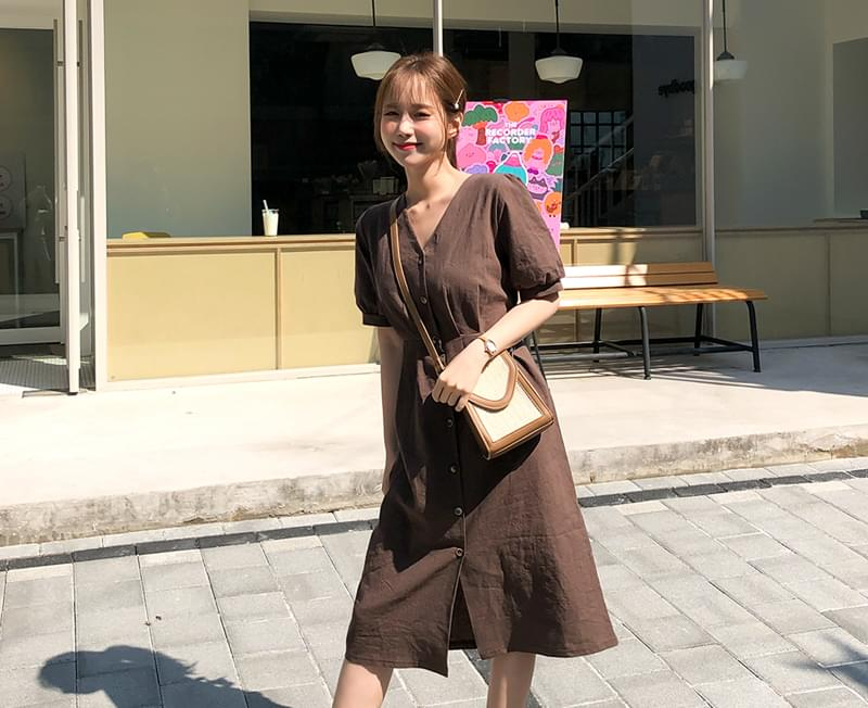 Brown Sorrem Linen One Piece ワンピース