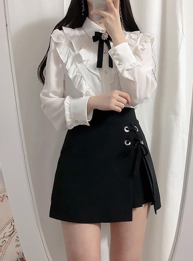 브로치set브이셔링 blouse(레몬,하늘)