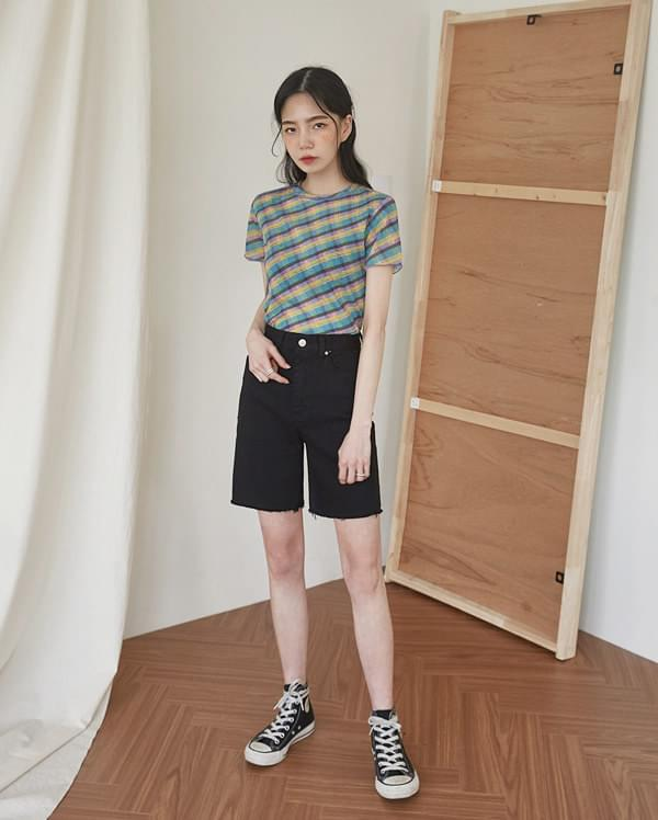 darling check crop T