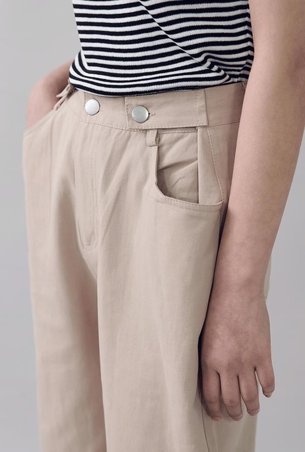 Button wide cotton pants