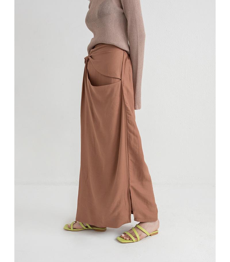linen twist detail maxi skirt