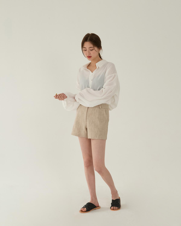 herringbone linen shorts