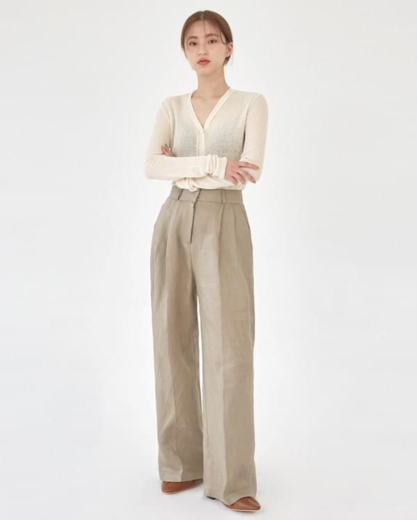 cover pintuck linen slacks