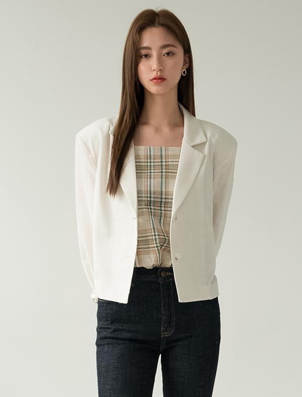 2-button linen crop jacket