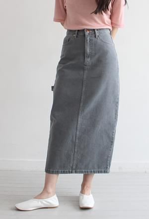 Strap denim long skirt (2colors)