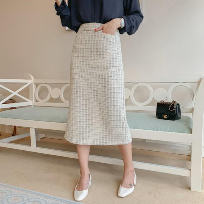 Elegant tweed long skirt