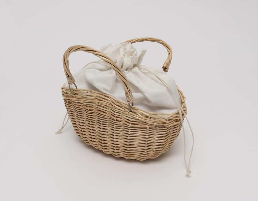 Picnic canvas rattan bag_B