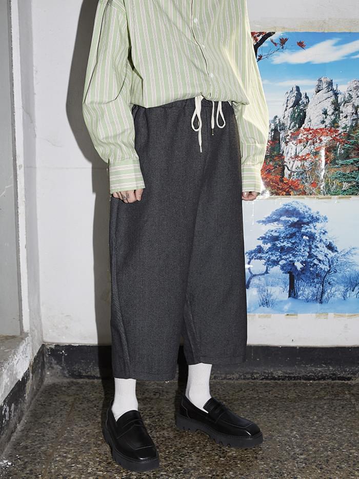 denim crop baggy pants - men