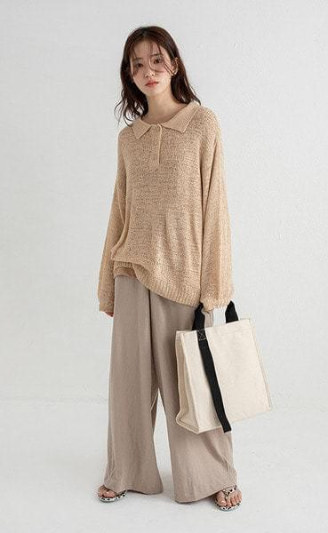 collar loose net over knit