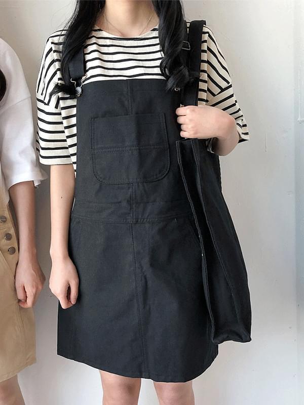 Pocket Cotton Suspenders Skirt