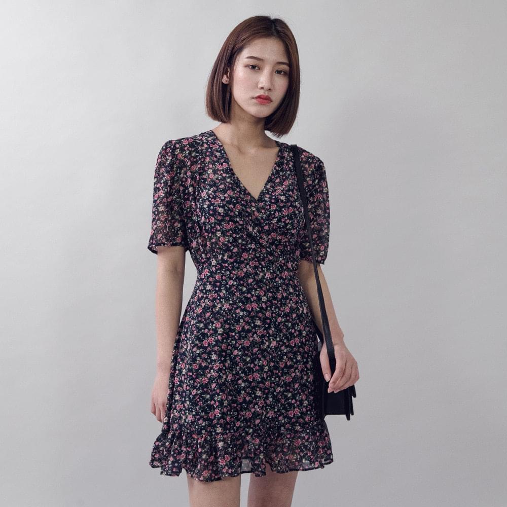 V-neck Flower Mini Dress