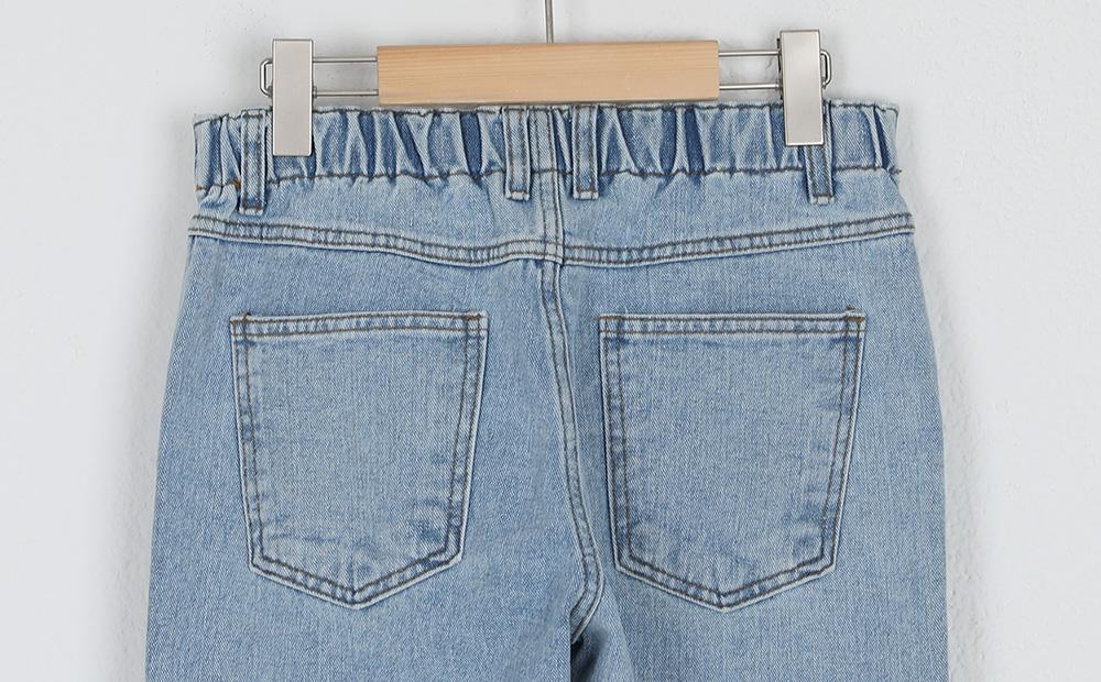 banding straight slim jeans