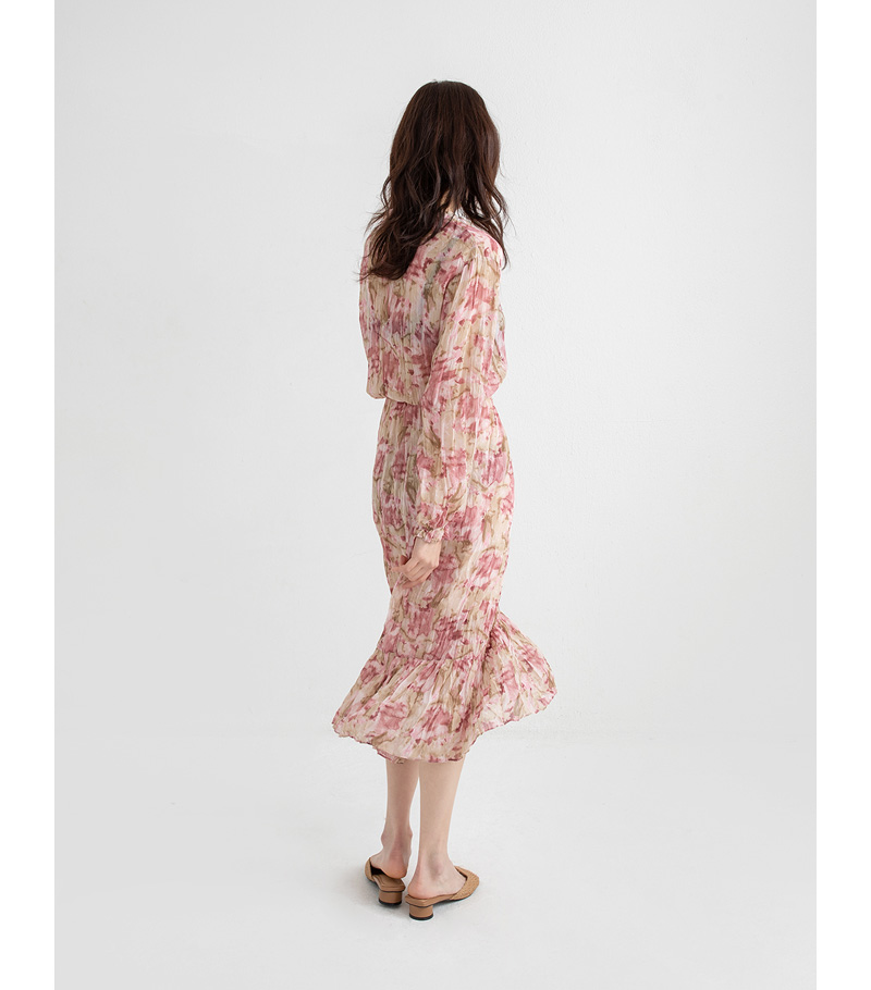 marble flower long one-piece