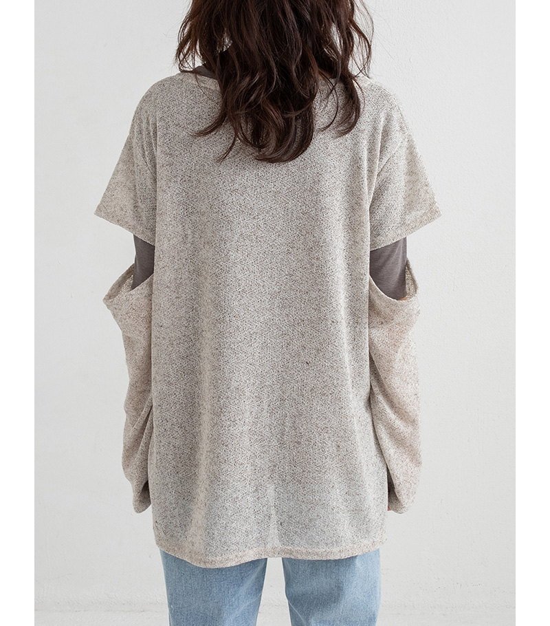 cut sleeve loose thin knit