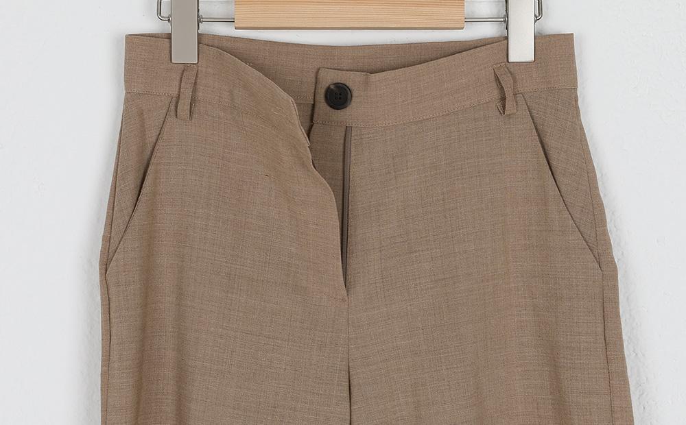 belted straight long slacks