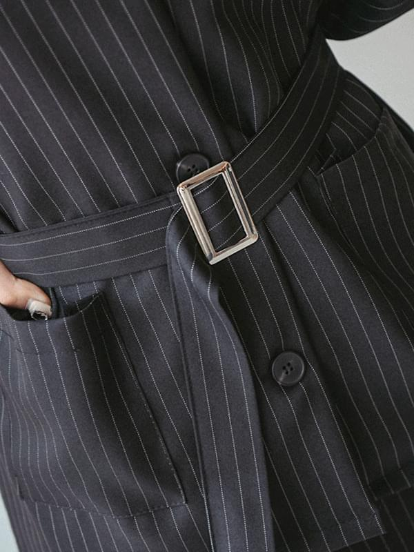 Genie Stripe Belt Set Jacket