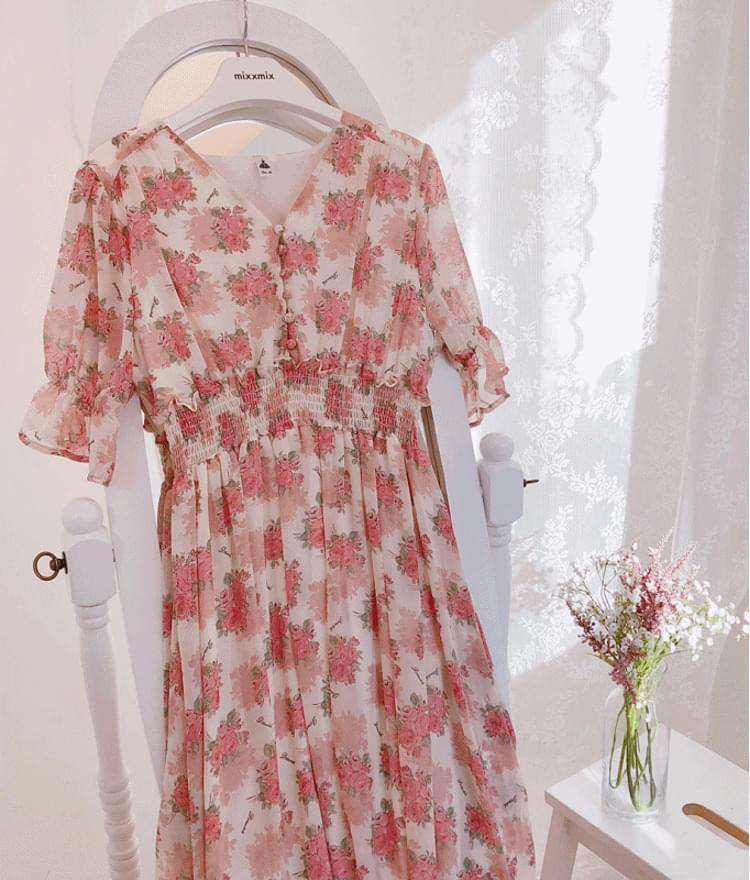 Bean Button Flower Long Dress