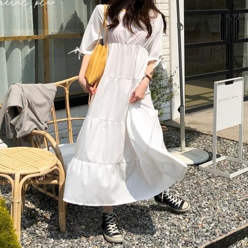 Bubble Cream Long Dress