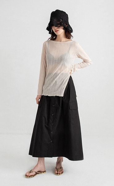 button a-line banding maxi skirt