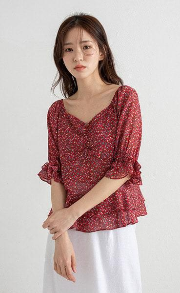 red flower lady blouse