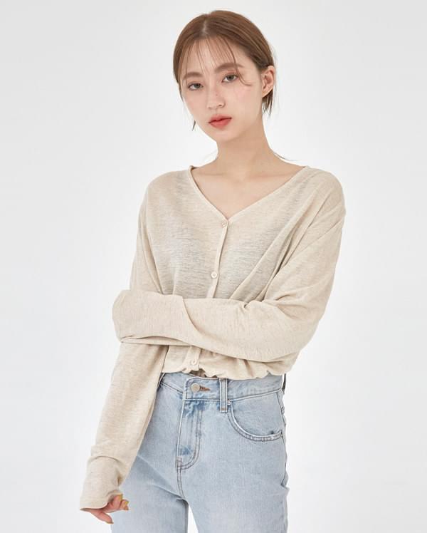 linen v-neck cardigan T