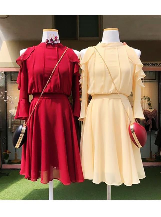 Cherry blossom off shoulder dress _ store