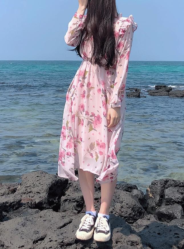 Order rush ♥ petal floral long dress