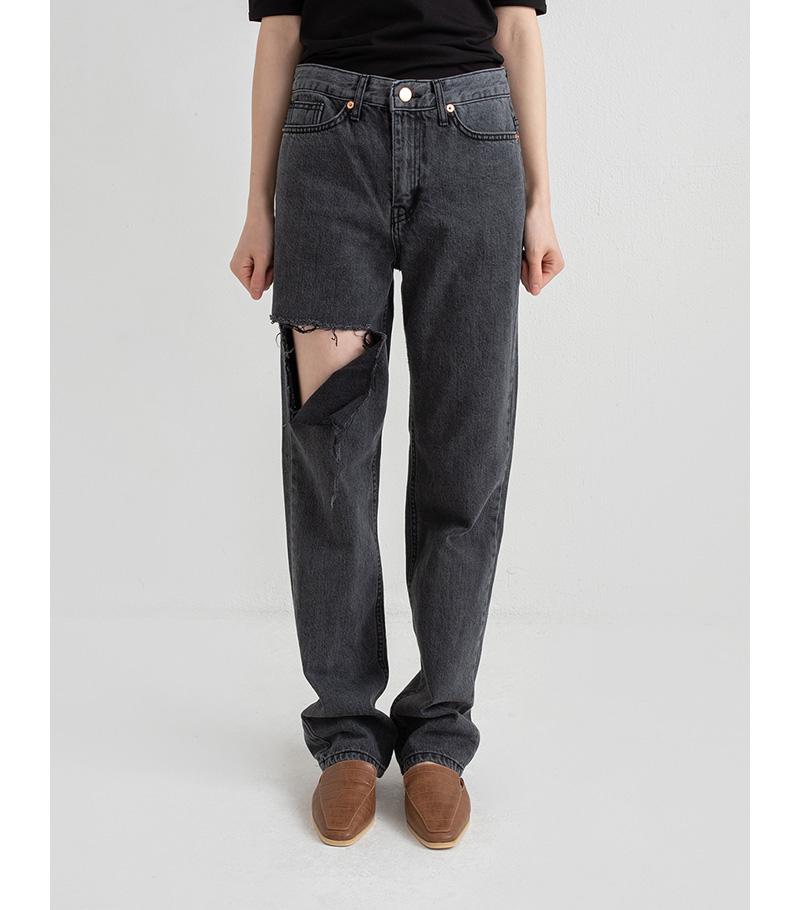 rock damage long jeans