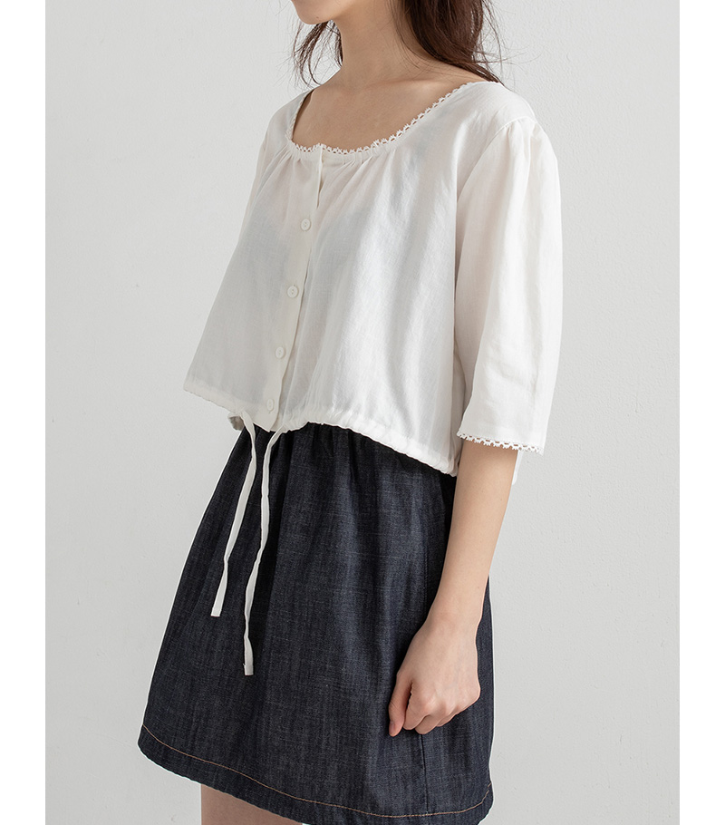 square string crop blouse