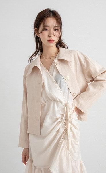 linen paper collar crop jacket