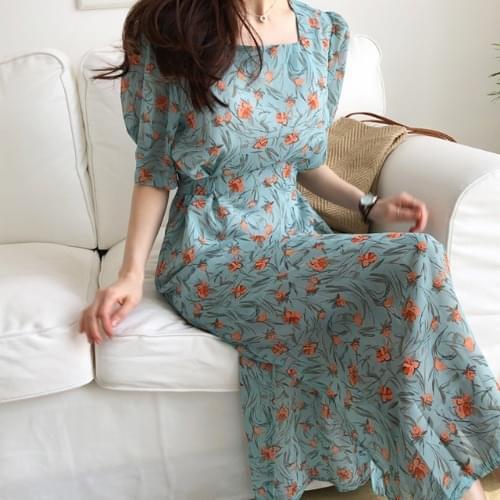 Daisy Puff Long Dress