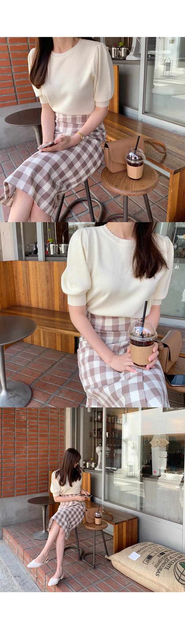 Linen check button lap skirt