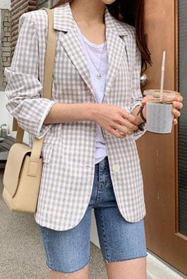 Momo linen check jacket