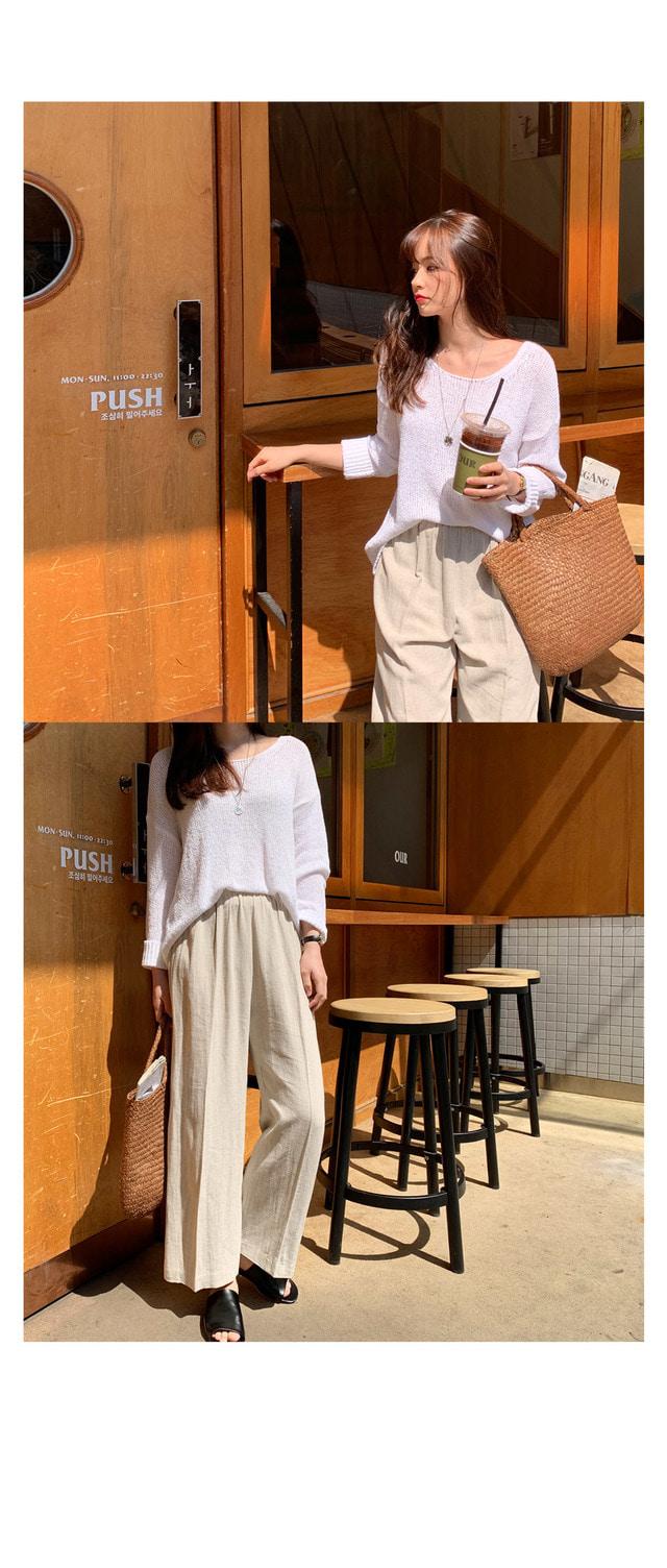 Linen pants bending wide pants