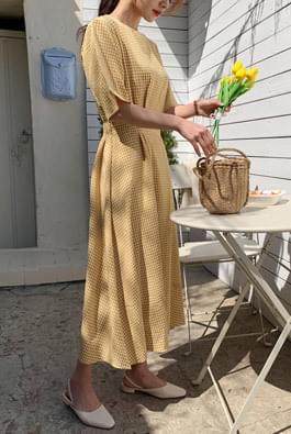 Jenny Check Flare Long Dress