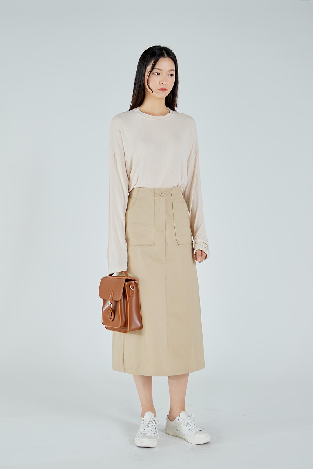Slim Pocket Long Skirt