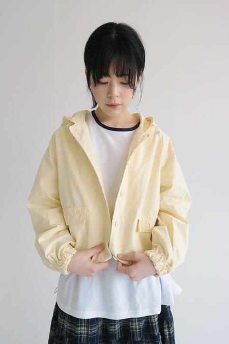 banding bottom hood jacket