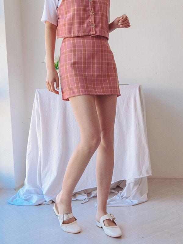Aizu check skirt